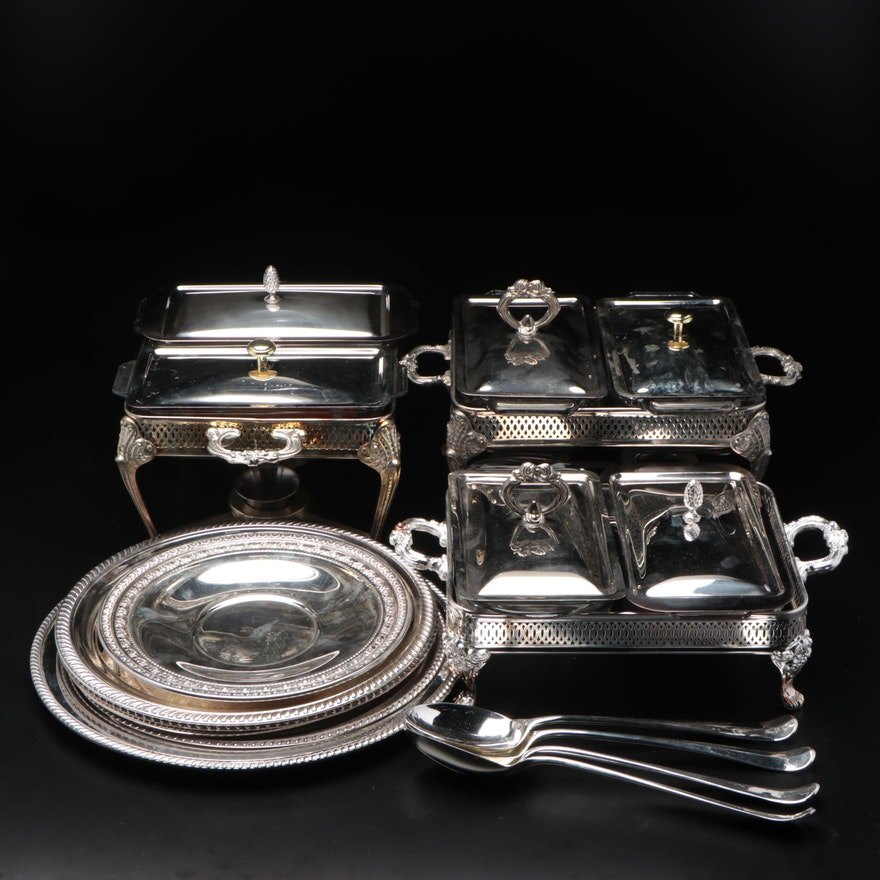 Wallace and Other Silver Plate Chafing Dishes and Serveware, Mid to Late 20th C.