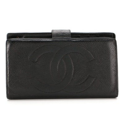 Chanel CC Continental Wallet in Black Caviar Leather
