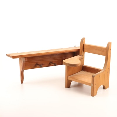 Pine Wall Mounted Coat Rack and Miniature Child's School Desk
