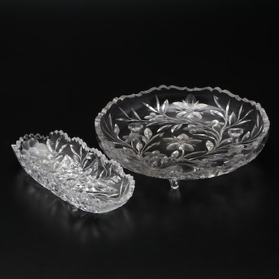 Cut Glass Footed Bowl and Cracker Tray
