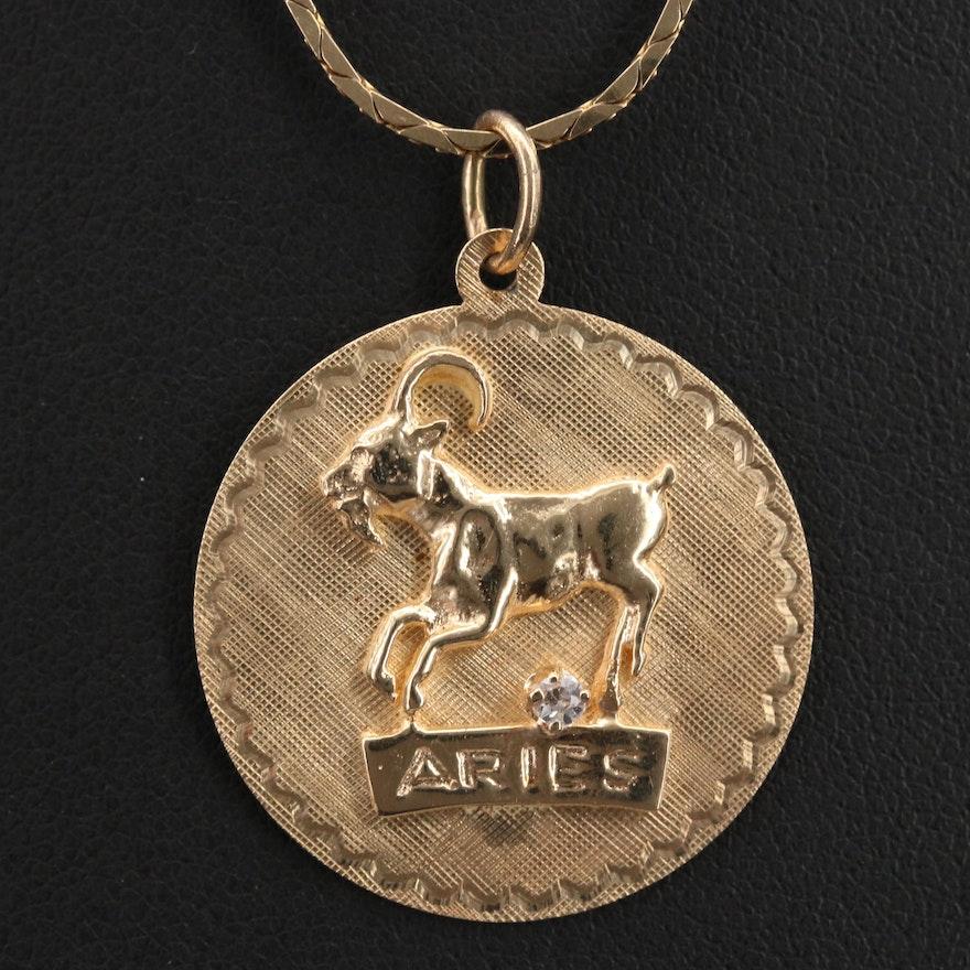 14K Aries Zodiac Pendant on Italian Chain Necklace