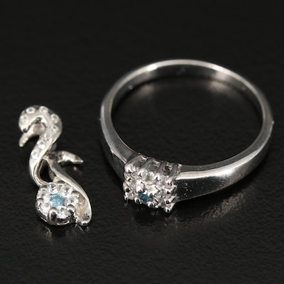Sterling Silver Diamond and Zircon Ring and Pendant