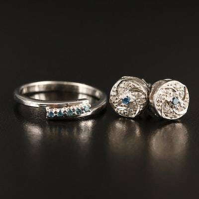 Sterling Silver Diamond and Zircon Earrings and Ring