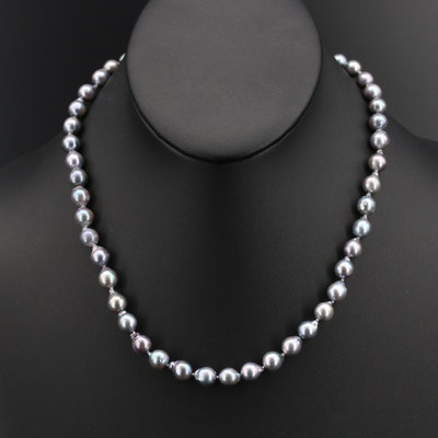 Knotted Baroque Strand Pearl Necklace with 14K Clasp
