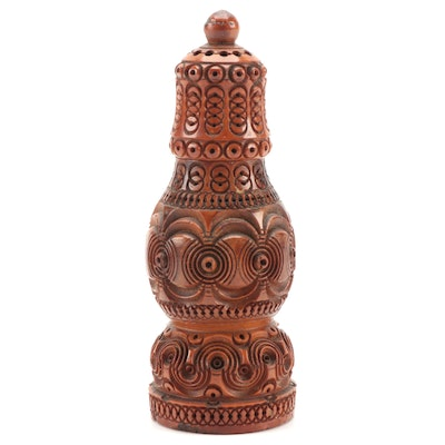 Carved Coquilla Nut Spice Shaker, 19th Century