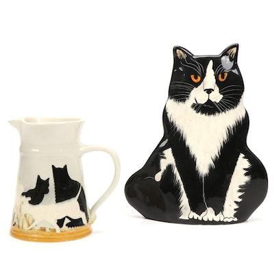 "Nina Lyman ""Cats"" Ceramic Vase, with Westcote Bell Ceramic Pitcher"