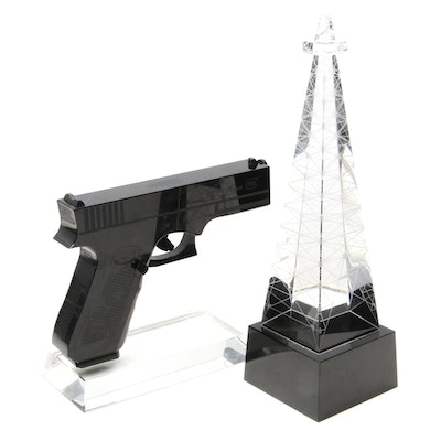 Acrylic Glass Sculptures of Gun and Radio Tower, Late 20th Century