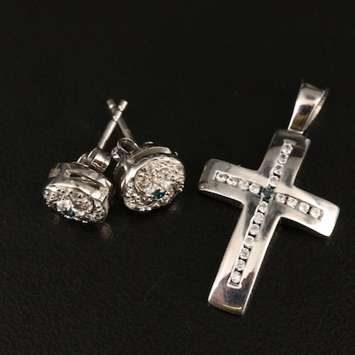 Sterling Silver Diamond and Zircon Cross Pendant and Earrings