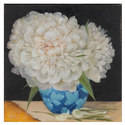 """Thu-Thuy Tran Floral Oil Painting """"White Peonies,"""" 2021"""