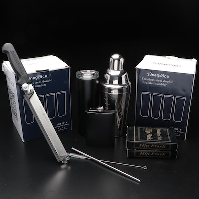 Zonegrace Stainless Steel Double Tumbler with Other Flask and Barware