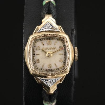 14K Bulova Diamond Wristwatch