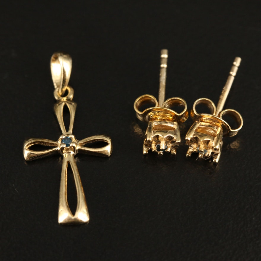 Sterling Diamond Cross Pendant and Stud Earrings