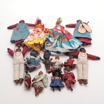 Fabric and Porcelain Miniature Doll Collection