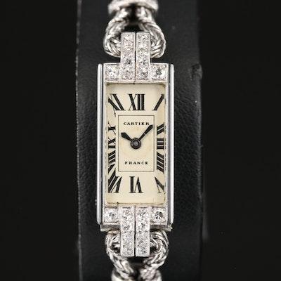 Vintage Cartier Diamond Platinum and 18K Gold Back Wind Wristwatch