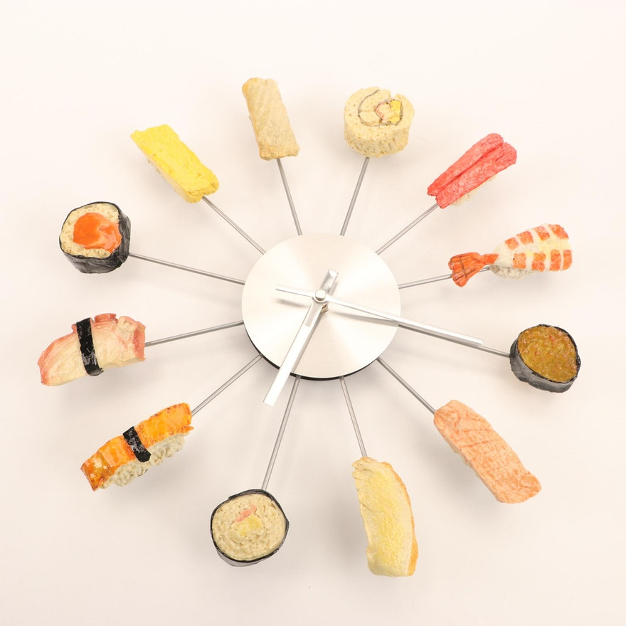 Movebest Sushi-Theme Metal Wall Clock