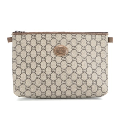 Gucci Plus Cosmetic Bag in GG Plus Canvas with Brown Leather Trims
