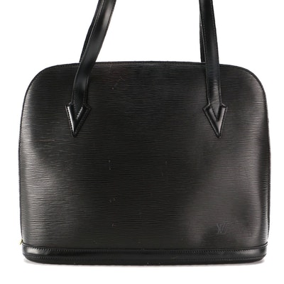Louis Vuitton Lussac Shoulder Bag in Black Epi and Smooth Leather
