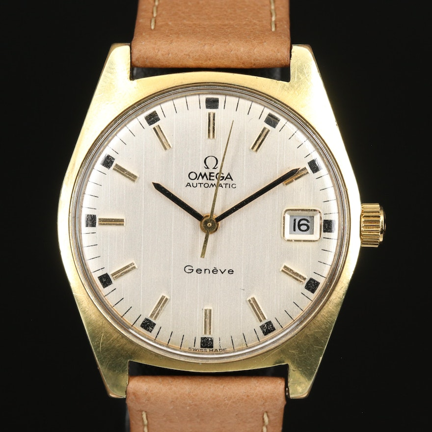1971 Omega Geneve Gold Plated Stainless Steel Automatic Wristwatch