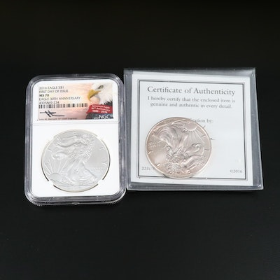 NGC Graded MS70 30th Anniversary 2016 Silver Eagle and More