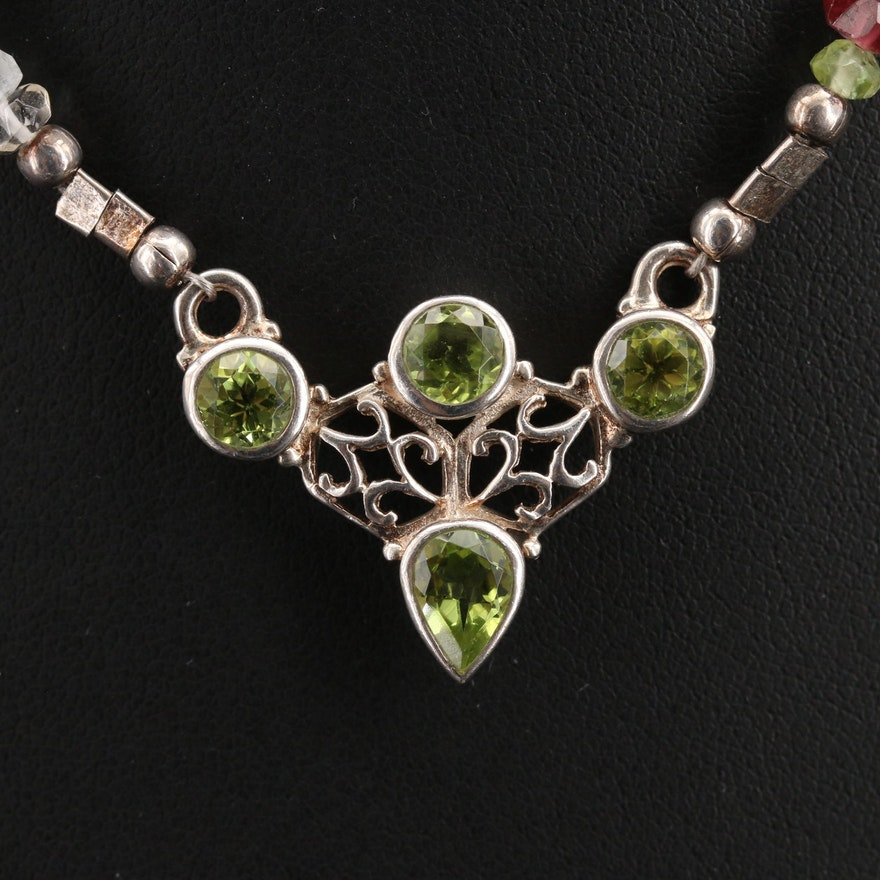Sterling Peridot and Gemstone Beaded Necklace with Openwork Design