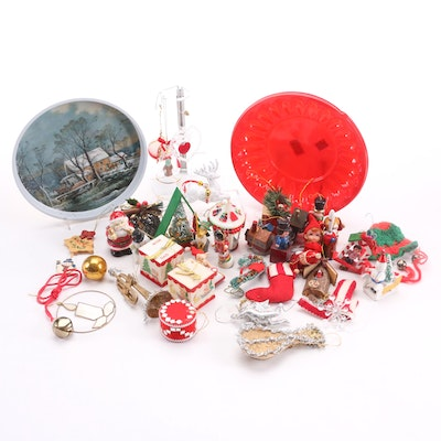 """Currier and Ives """"Winter in the Country"""" Platter with Other Christmas Décor"""