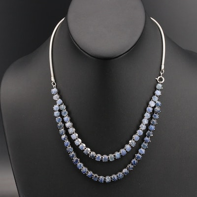 Sterling Sapphire Double Strand Necklace