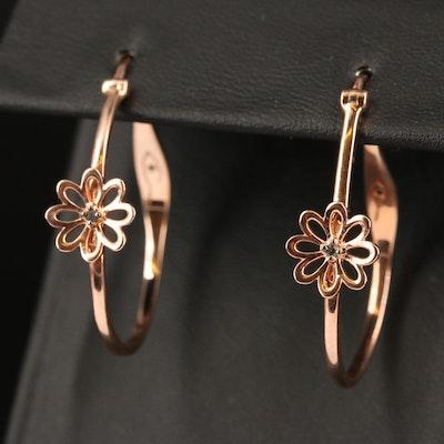 Sterling Diamond Flower Oval Hoop Earrings