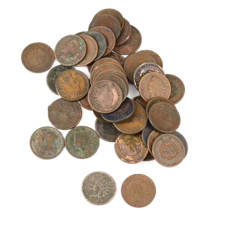 50 Indian Head Cents, Mid to Late 19th Century