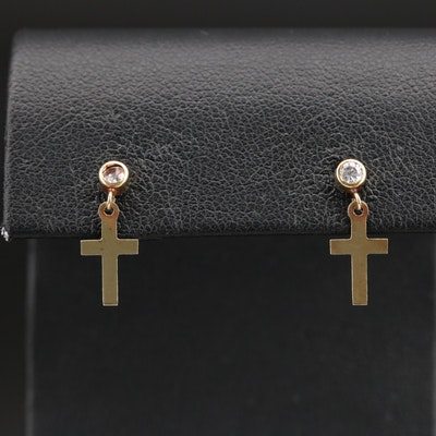 14K Cubic Zirconia Cross Earrings