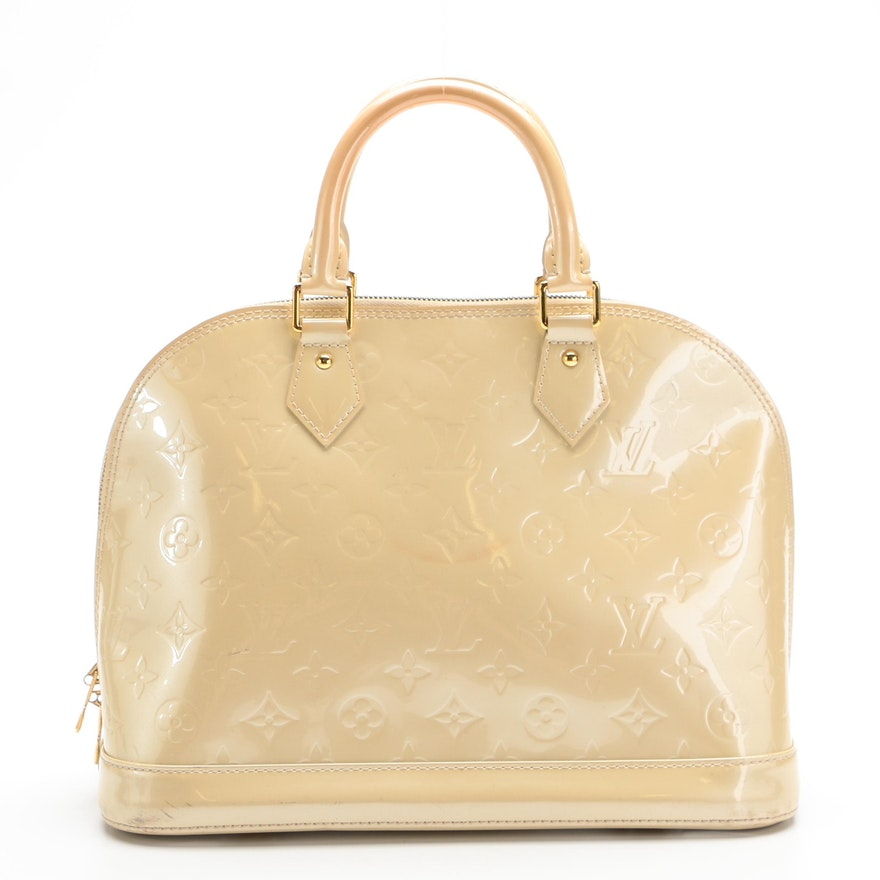 Louis Vuitton Alma PM Bag in Blanc Corail Monogram Vernis