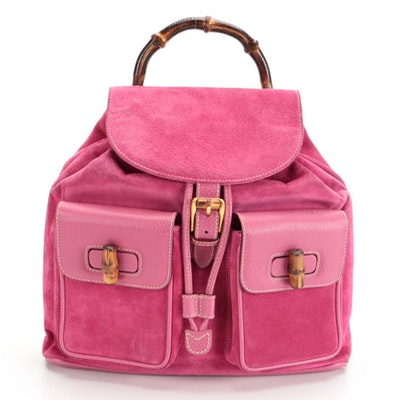 Gucci Bamboo Drawstring Backpack in Fuchsia Suede and Leather