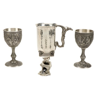 """Franklin Mint """"Merlin"""" and """"Quinevere"""" Pewter Goblets, Mug and Goblin Figurine"""