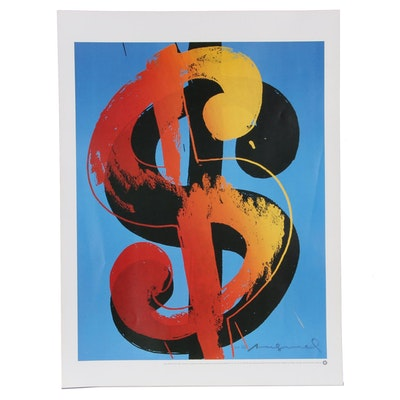 """Offset Lithograph After Andy Warhol """"Dollar Sign,"""" 21st Century"""