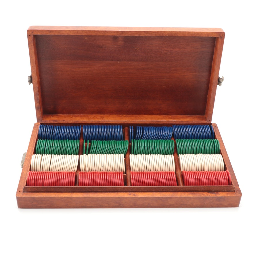 Mahogany 400 Count Poker Chip Set with Case