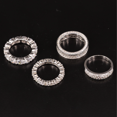 Sterling Silver Cubic Zirconia Bands Featuring Eternity Bands