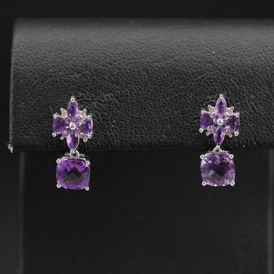 18K Amethyst and Diamond Earrings