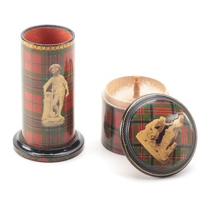 Scottish Mauchline Tartan Ware Powder Jar and Brush Holder, Late 19th Century