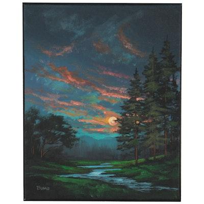 "Douglas ""Bumo"" Johnpeer Landscape Oil Painting of Nocturnal Scene, 2021"
