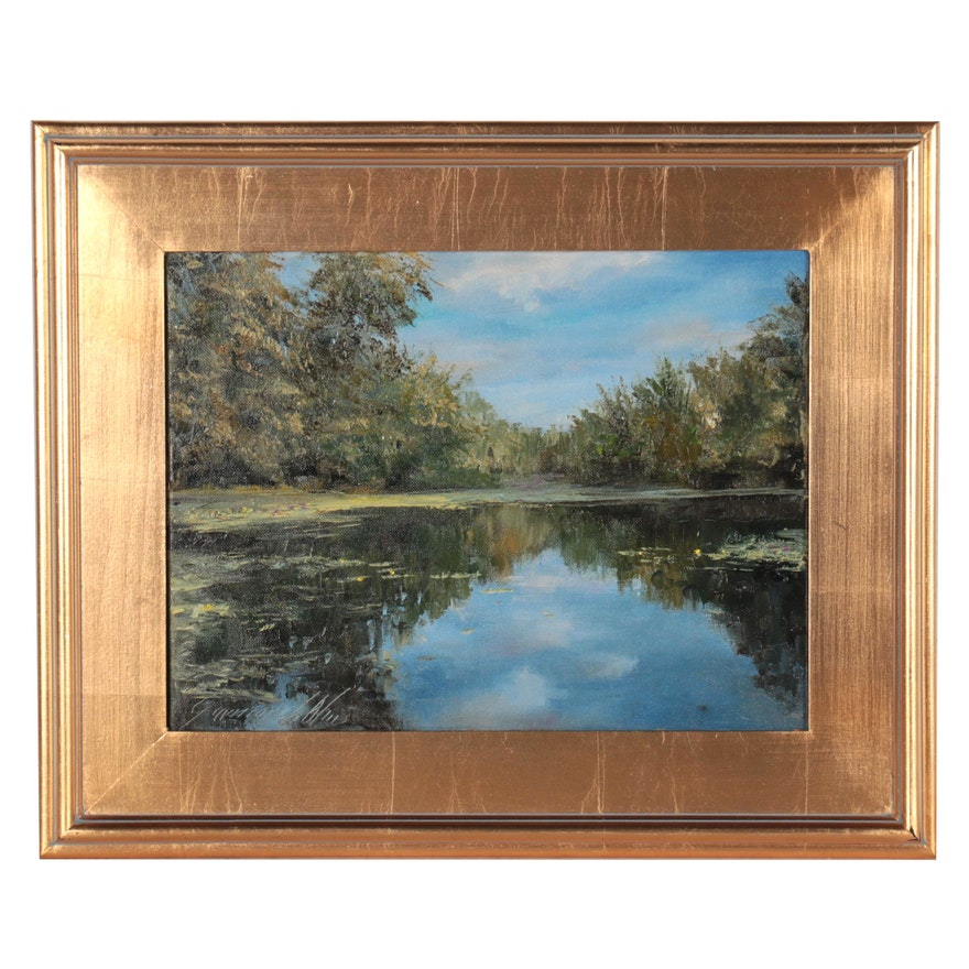 "Garncarek Aleksander Landscape Oil Painting ""Nad Stawem,"" 2021"