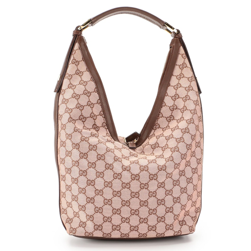 Gucci Hobo Bag in GG Canvas with Brown Leather Trim