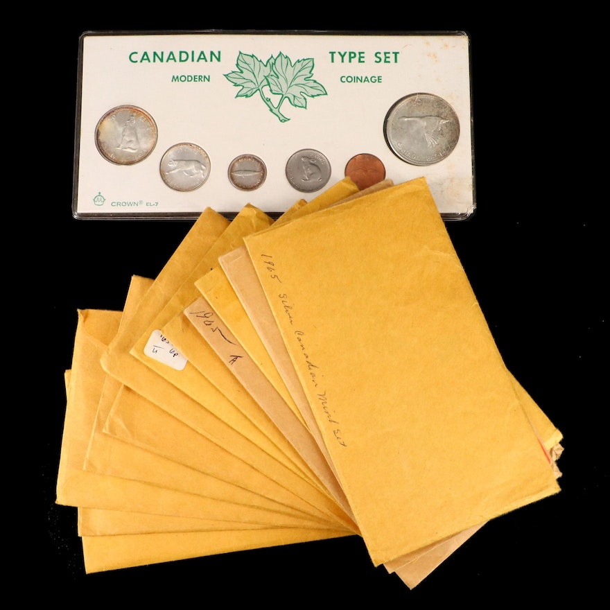 Thirteen Vintage Canadian Type Coin Silver Sets