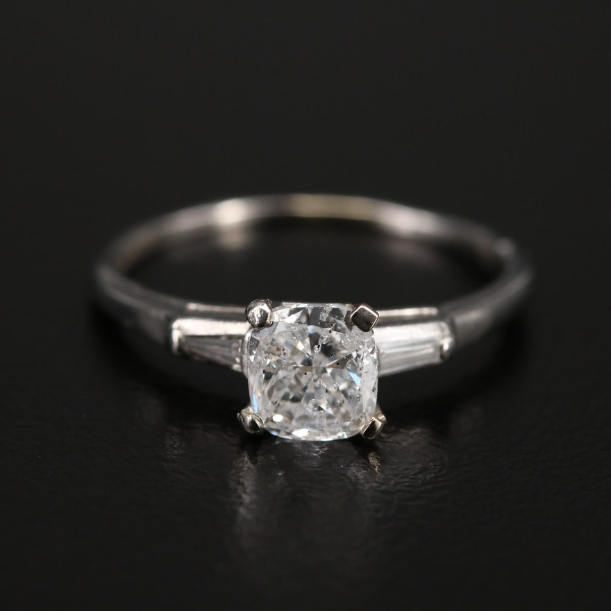 Vintage Platinum 1.04 CTW Diamond Ring