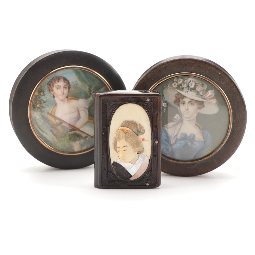 Miniature Portrait Tortoise Shell Snuff Boxes with Bone and Abalone Vesta