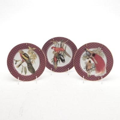 """Fitz and Floyd """"Oiseaux des Tropiques"""" Porcelain Plates"""