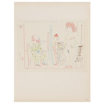 """Lithograph After Pablo Picasso """"Le Modèle et Deux Personnages,"""" Mid-20th Century"""