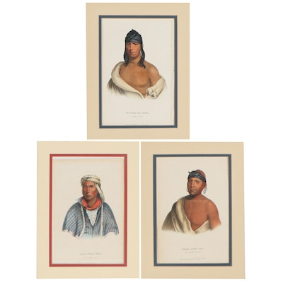 J.T. Bowen Hand-Colored Lithograph Bookplates of Native Americans, 19th Century