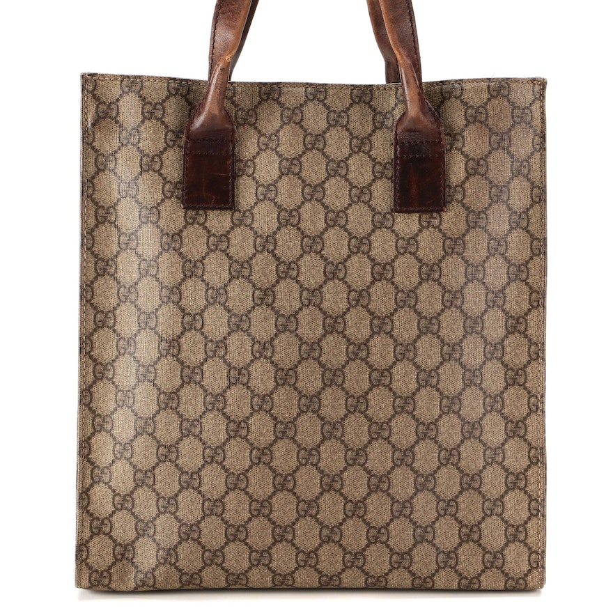 Gucci North South Tote in GG Supreme Canvas with Brown Leather Trim