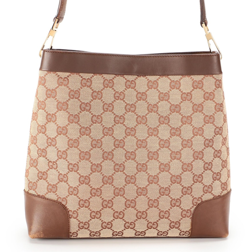 Gucci Shoulder Bag in GG Canvas and Smooth Brown Leather