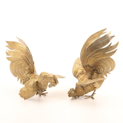Pair of Gold Finish Metal Table Roosters