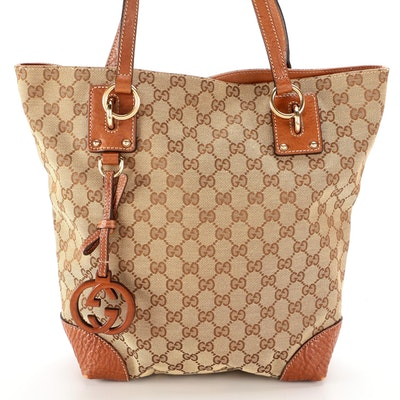 Gucci GG Canvas and Leather Charm Tote